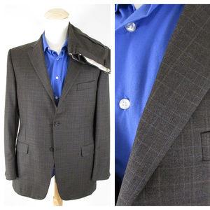 Hickey Freeman Brown Windowpane Wool Suit